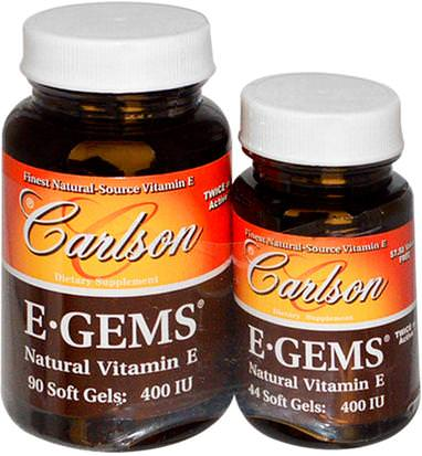 Vitaminas, Vitamina E Carlson Labs, E-Gems, Natural Vitamin E, 400 IU, 2 Bottles, 90 Softgels + 44 Soft Gels