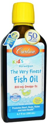 Suplementos, Efa Omega 3 6 9 (Epa Dha), Aceite De Pescado, Aceite De Pescado Líquido Carlson Labs, Kids, The Very Finest Fish Oil, Natural Lemon Flavor, 6.7 fl oz (200 ml)