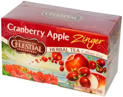 Condimentos Celestiales, Comida, Té De Hierbas Celestial Seasonings, Herbal Tea, Cranberry Apple Zinger, Caffeine Free, 20 Tea Bags, 1.5 oz (42 g)