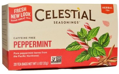 Condimentos Celestiales, Comida, Té De Menta Celestial Seasonings, Herbal Tea, Peppermint, Caffeine Free, 20 Tea Bags, 1.1 oz (32 g)