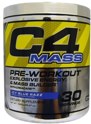Deportes, Creatina, Entrenamiento Cellucor, C4 Mass, Pre-Workout Explosive Energy & Mass Builder, Icy Blue Razz, 1020 g (35.97 oz)