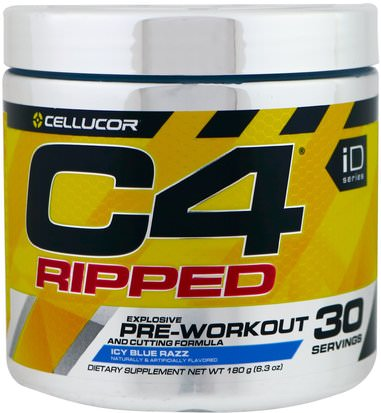 Salud, Energía, Deportes Cellucor, C4 Ripped Explosive, Pre-Workout, Icy Blue Razz, 6.3 oz (180 g)