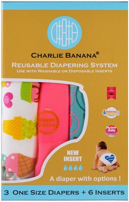 Salud De Los Niños, Cambio De Pañales Charlie Banana, Reusable Diapering System, One Size Diapers, Girl, 3 Diapers + 6 Inserts