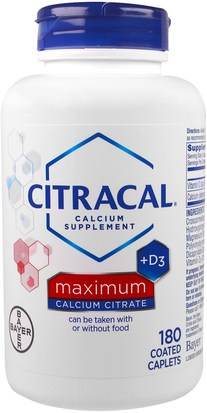 Suplementos, Minerales, Calcio Vitamina D Citracal, Maximum, +D3, 180 Coated Caplets