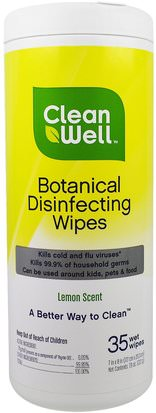 Hogar, Productos De Limpieza Para El Hogar Clean Well, Botanical Disinfecting Wipes, Lemon Scent, 35 Wet Wipes, 7 in x 8 in (117. cm x 20.3 cm)