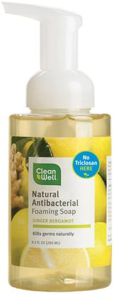 Baño, Belleza, Jabón, Jabón Espumoso Clean Well, Natural Antibacterial Foaming Soap, Ginger Bergamot, 9.5 fl oz (280 ml)