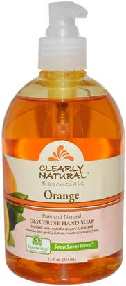 Baño, Belleza, Jabón Clearly Natural, Essentials, Glycerine Hand Soap, Orange, 12 fl oz (354 ml)