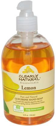 Baño, Belleza, Jabón Clearly Natural, Essentials, Glycerine Hand Soap, Lemon, 12 fl oz (354 ml)