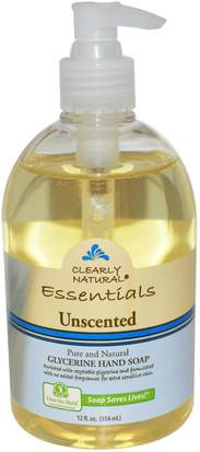 Baño, Belleza, Jabón Clearly Natural, Essentials, Glycerine Hand Soap, Unscented, 12 fl oz (354 ml)