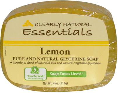 Baño, Belleza, Jabón Clearly Natural, Essentials, Pure and Natural Glycerine Soap, Lemon, 4 oz (113 g)