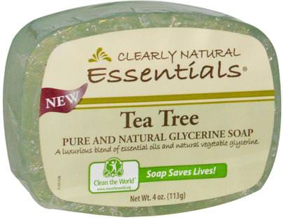 Baño, Belleza, Jabón Clearly Natural, Essentials, Pure and Natural Glycerine Soap, Tea Tree, 4 oz (113 g)