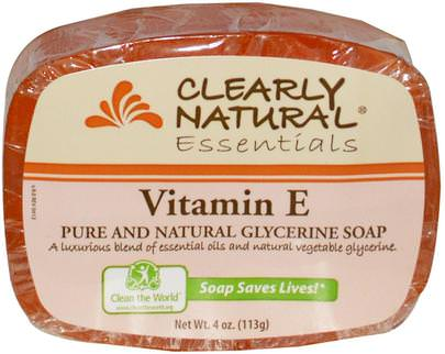 Baño, Belleza, Jabón Clearly Natural, Essentials, Pure and Natural Glycerine Soap, Vitamin E, 4 oz (113 g)