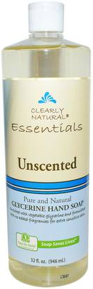 Baño, Belleza, Jabón, Recargas Clearly Natural, Essential, Glycerine Hand Soap, Unscented, 32 fl oz (946 ml)