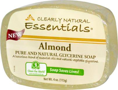 Baño, Belleza, Jabón Clearly Natural, Essentials, Pure and Natural Glycerine Soap, Almond, 4 oz (113 g)