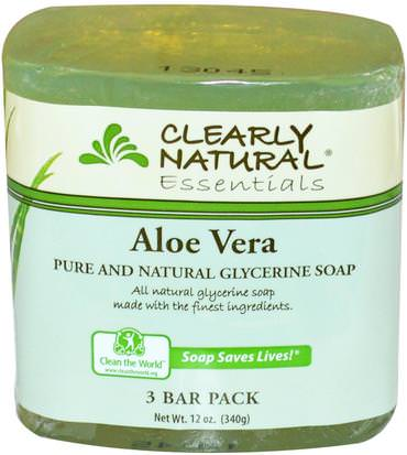 Baño, Belleza, Jabón Clearly Natural, Essentials, Pure and Natural Glycerine Soap, Aloe Vera, 3 Bar Pack, 4 oz Each