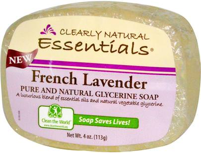 Baño, Belleza, Jabón Clearly Natural, Essentials, Pure and Natural Glycerine Soap, French Lavender, 4 oz (113 g)