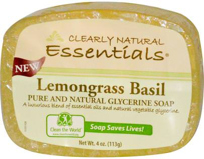 Baño, Belleza, Jabón Clearly Natural, Essentials, Pure and Natural Glycerine Soap, Lemongrass Basil, 4 oz (113 g)