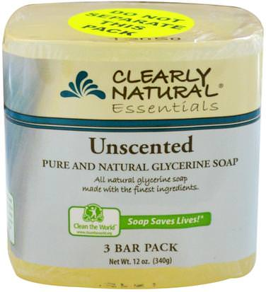 Baño, Belleza, Jabón Clearly Natural, Essentials, Pure and Natural Glycerine Soap, Unscented, 3 Bar Pack, 4 oz Each