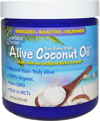 Comida, Keto Amigable, Aceite De Coco Coconut Secret, Organic Alive Coconut Oil, Raw Extra Virgin, 16 fl oz (473 ml)