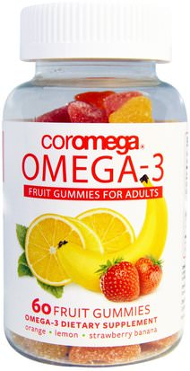 Suplementos, Efa Omega 3 6 9 (Epa Dha), Dha, Epa Coromega, Omega-3, Fruit Gummies for Adults, Orange, Lemon, Strawberry Banana, 60 Fruit Gummies