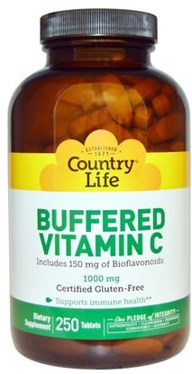 Vitaminas, Vitamina C Tamponadas Country Life, Buffered Vitamin C, 1000 mg, 250 Tablets