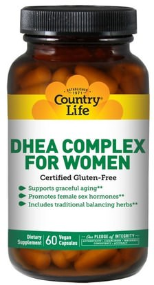 Suplementos, Dhea, Mujeres Country Life, DHEA Complex, For Women, 60 Veggie Caps