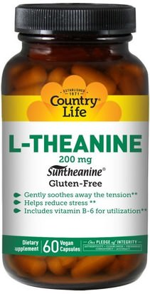 Suplementos, Aminoácidos, L Teanina Country Life, L-Theanine, 200 mg, 60 Vegan Caps