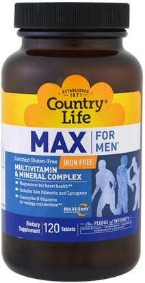 Vitaminas, Hombres, Multivitaminas Country Life, Max for Men, Multivitamin & Mineral Complex, Iron-Free, 120 Tablets