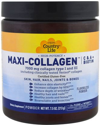 Salud, Mujeres Country Life, Maxi-Collagen, C & A plus Biotin, High Potency, Flavorless Powder, 7.5 oz (213 g)