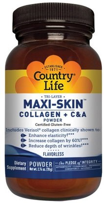 Salud, Hueso, Osteoporosis, Colágeno, Mujeres, Piel Country Life, Maxi-Skin Collagen + C & A Powder, Flavorless, 2.74 oz (78 g)