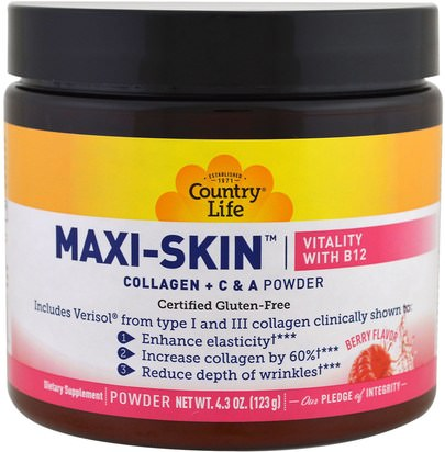 Salud, Hueso, Osteoporosis Country Life, Maxi-Skin, Vitality with B12, Berry Flavor, Powder, 4.3 oz (123 g)