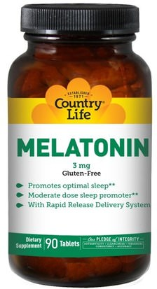Suplementos, Melatonina 3 Mg Country Life, Melatonin, 3 mg, 90 Tablets