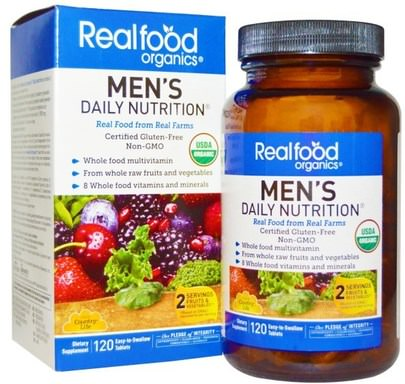 Vitaminas, Hombres, Multivitaminas Country Life, Realfood Organics, Mens Daily Nutrition, 120 Tablets