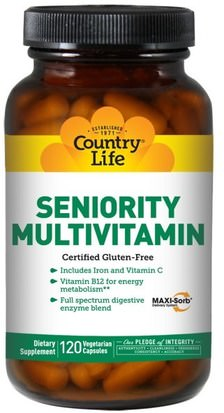 Vitaminas, Multivitaminas - Personas Mayores Country Life, Seniority Multivitamin, 120 Veggie Caps