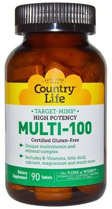 Vitaminas, Multivitaminas Country Life, Target-Mins, Multi-100, High Potency, 90 Tablets