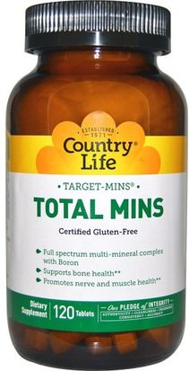 Suplementos, Minerales, Minerales Múltiples Country Life, Target-Mins, Total Mins, 120 Tablets