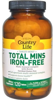 Suplementos, Minerales, Minerales Múltiples Country Life, Total Mins Iron-Free, Multi-Mineral Complex with Boron, 120 Tablets