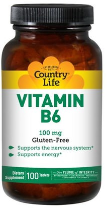 Vitaminas, Vitamina B6 - Piridoxina Country Life, Vitamin B6, 100 mg, 100 Tablets