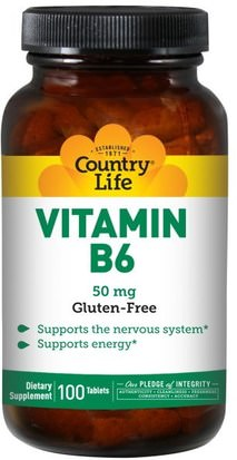 Vitaminas, Vitamina B6 - Piridoxina Country Life, Vitamin B6, 50 mg, 100 Tablets