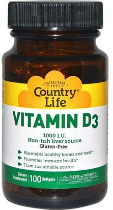 Vitaminas, Vitamina D3 Country Life, Vitamin D3, 1000 IU, 100 Softgels
