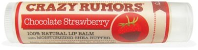 Baño, Belleza, Cuidado Labial, Bálsamo Labial Crazy Rumors, 100% Natural Lip Balm, Chocolate Strawberry, 0.15 oz (4.4 ml)