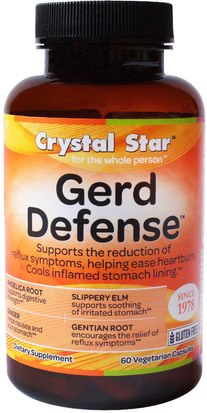Salud, Acidez Y Gerd, Acidez Estomacal Crystal Star, GERD Defense, 60 Veggie Caps