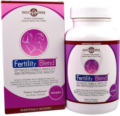 Salud, Mujeres, Embarazo Daily Wellness Company, Fertility Blend for Women, 90 Veggie Caps
