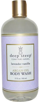 Baño, Belleza, Baño De Argan, Gel De Ducha Deep Steep, Argan Oil Body Wash, Lavender Vanilla, 17 fl oz (502 ml)