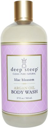 Baño, Belleza, Baño De Argan, Gel De Ducha Deep Steep, Argan Oil Body Wash, Lilac Blossom, 17 fl oz (502 ml)