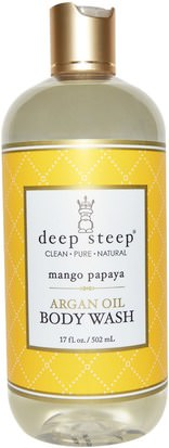 Baño, Belleza, Lociones Y Mantecas De Argan, Gel De Ducha Deep Steep, Argan Oil Body Wash, Mango Papaya, 17 fl oz (502 ml)