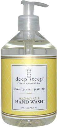 Baño, Belleza, Lociones De Argan Y Mantequillas Deep Steep, Argan Oil Hand Wash, Lemongrass-Jasmine, 17.6 fl oz (520 ml)