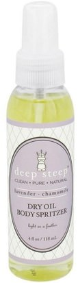 Baño, Belleza, Aerosoles De Fragancias Deep Steep, Dry Oil Body Spritzer, Lavender Chamomile, 4 fl oz (118 ml)