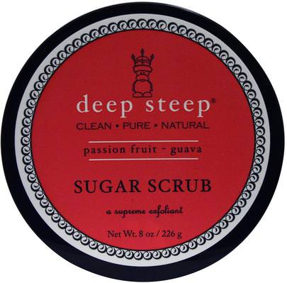 Baño, Belleza, Exfoliantes Corporales Deep Steep, Sugar Scrub, Passion Fruit Guava, 8 oz (226 g)