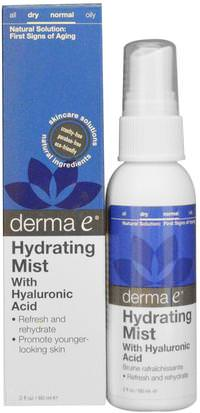 Belleza, Tónicos Faciales, Cuidado Facial, Tipo De Piel Piel Normal A Seca Derma E, Hydrating Mist with Hyaluronic Acid, 2 fl oz (60 ml)
